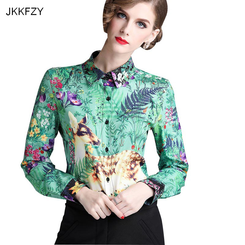 New Runway Design Autumn Women Blouse Printed Shirt Fashion Green Elegant Long Sleeves Office Shirt  Female Holiday Party Top