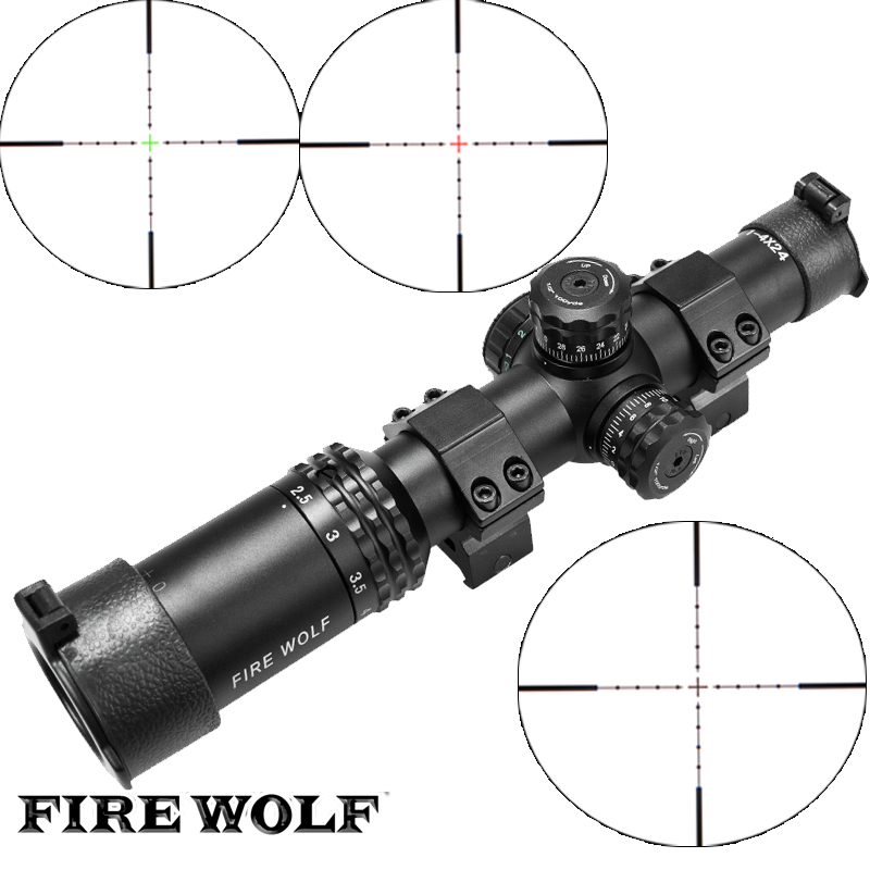 Здесь продается  FIRE WOLF Silver Font Black sight 1-4X24 Riflescopes Rifle Scope Hunting Scope w/ Mounts  Спорт и развлечения