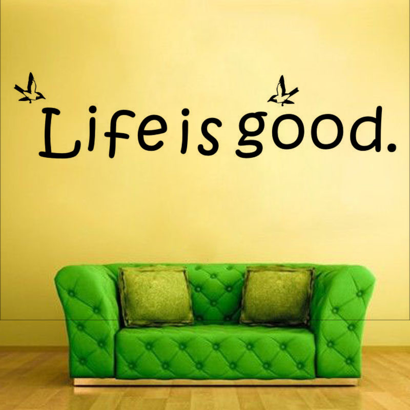 Life Is Good Cute Font Wall Sticker Birds Vinyl Decals Removable Home Decor For Girls Bedroom