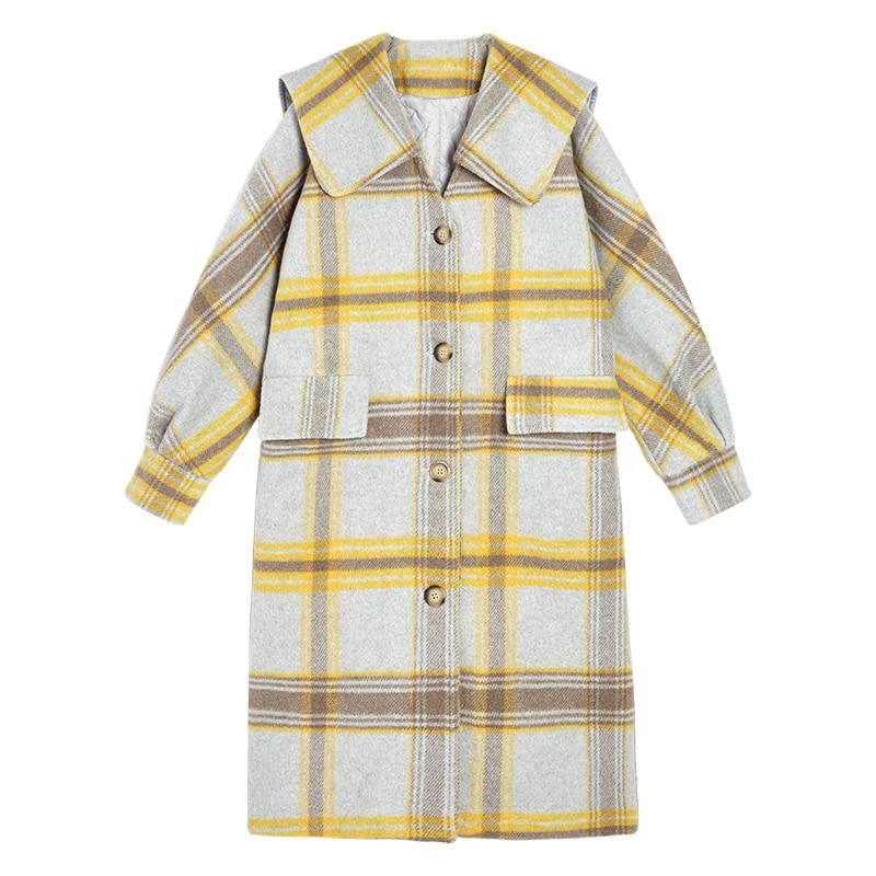 Unique Manteau Preppy Jaune Vintage Poche être Femmes C0083 Style Col Peut De Turn Down breasted U Hiver Lâche Laine SvqXCAn