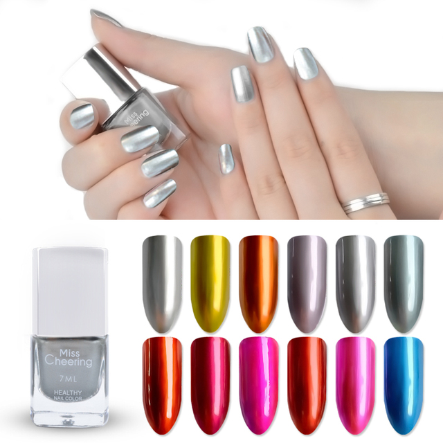 Misscheering 7ml Metallic Nail Polish Mirror Effect Shiny Metal Varnish Candy 12 Colors Glitter Polishes Manicure