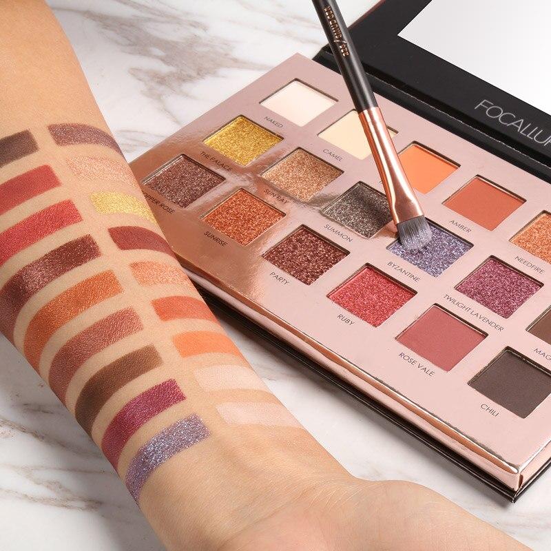 FOCALLURE 18 colores brillo de sombra de ojos brillo pigmento cosméticos paleta de sombra de ojos maquillaje