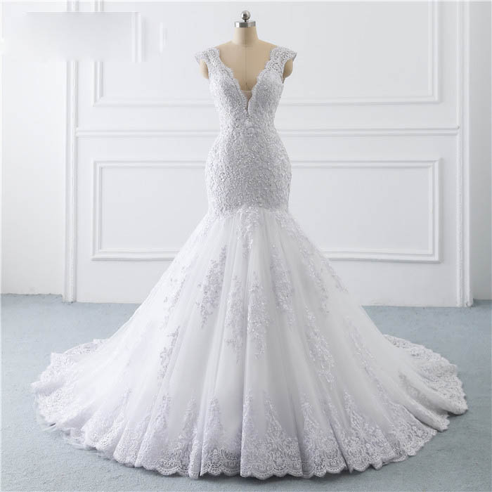 2019  Illusion Button Back Lace Applique Pearls Crystal V Neck Wedding Dresses