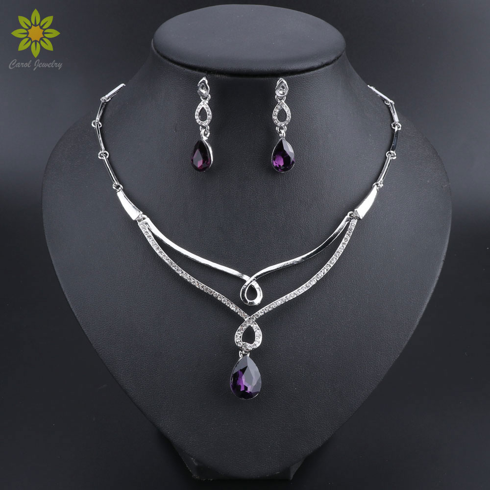New Fashion Jewelry Sets For Women African Beads Party Crystal Water Drop Pendant Necklace Earrings Wedding Accessories
