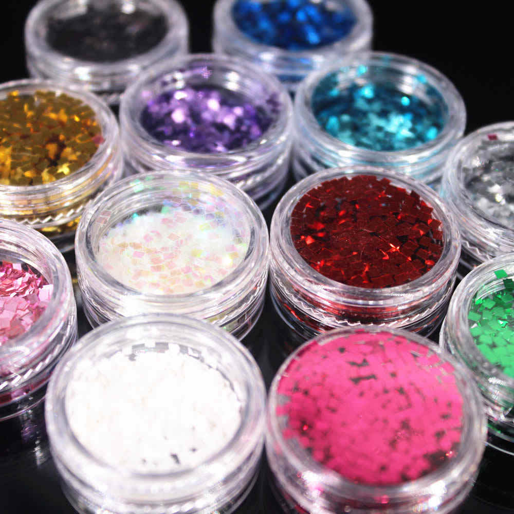 (1 Pcs/למכור) כיכר אבקת נייל/גוף/עין גליטר אבקת Paillettes הניצוץ DIY נייל אמנות נשים Superfine קישוטי אופנה