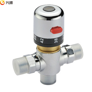 "Image 2 - Free Shipping G1/2""/DN15 Thermostatic valve thermostatic mixing valve deck mounted Solar brass thermostatic valve pipeline valve"