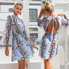 women dress 2019 summer new womens trumpet sleeves printed chiffon sexy backless  dresses