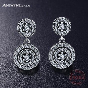 79520c1c6ffe Anfasni nuevo auténtico 925 de plata esterlina vintage elegancia Pendientes  de broche CZ claro para las mujeres joyería Europea regalo pser0031-b