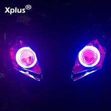"""Xplus ABC универсальный мотоцикл 55 Вт """" Мини высокие/низкие Hid линзы проектора bi xenon комплект фар CCFL Ангел глаз дьявол глаз"""