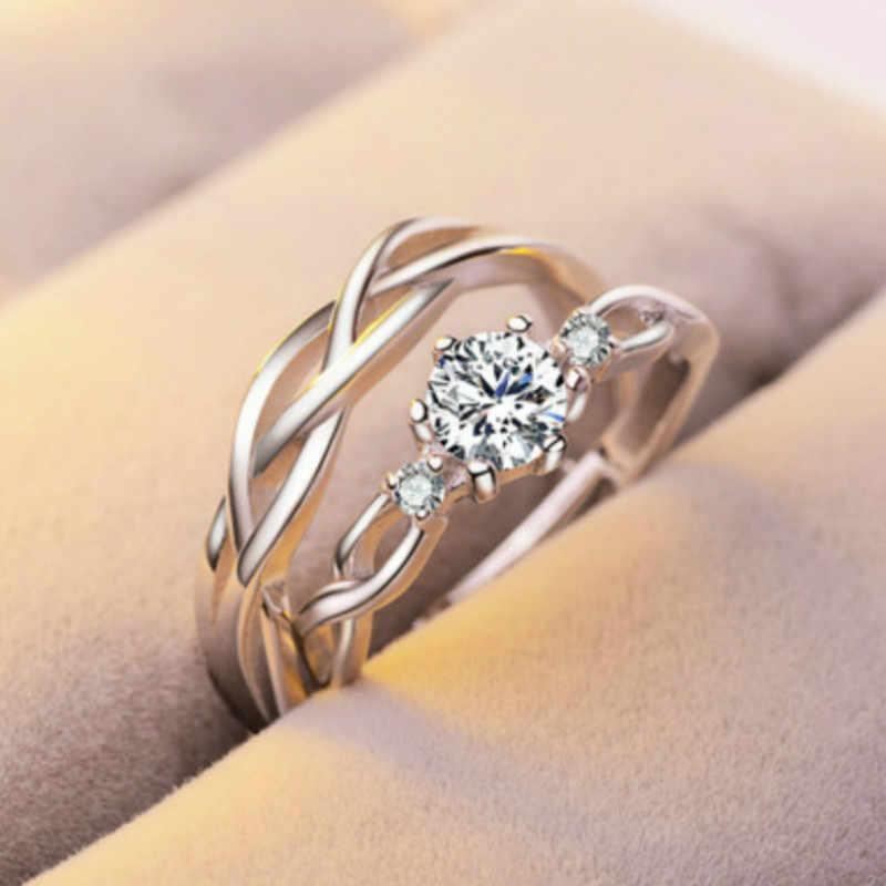 1 Set Verkaufen einstellbare liebhaber Zirkon Engagement Ringe für Frauen silber Farbe Hochzeit Ringe Österreichischen Kristalle Schmuck T01