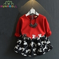 Spring Children Clothing Cartoon Cat Girls Clothing Set Brand Girls Dress Fashion 2pcs Girls T-Shirts+Skirt Animal Dresses L252