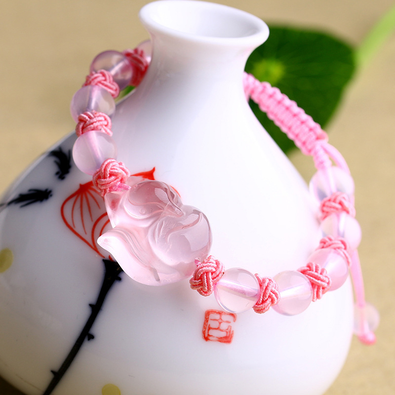 Wholesale Pink Natural Crystal Bracelet Round Bead With Crystal Fox Weaving Knot Bracelet Lucky for Girlfriend Crystal Jewelry