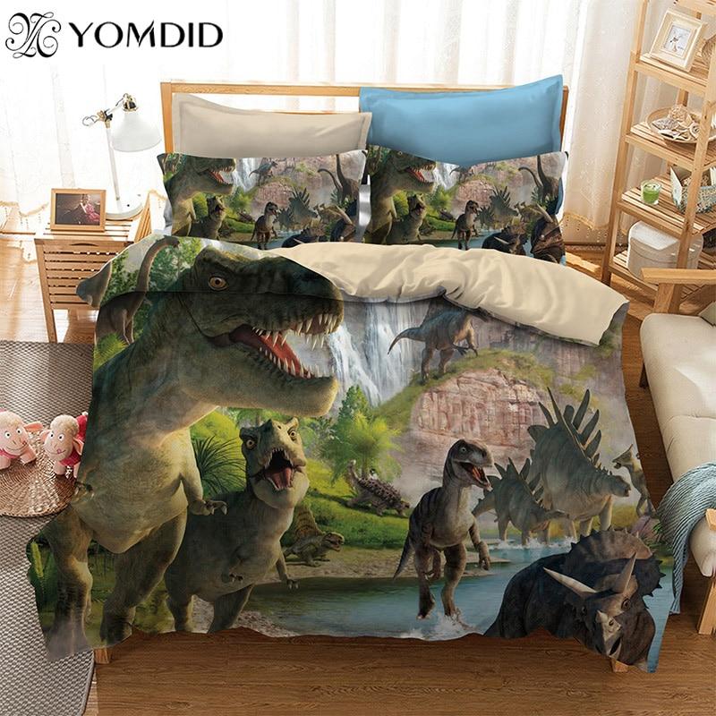 3D Cartoon Dinosaur Bedding Sets Single Printing Duvet Cover Sets Pillowcase AU/US/EU Single/Double/Queen/King Size Bedding Set