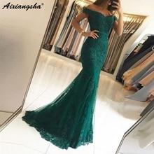 Off the Shoulder Beaded Lace Prom Long Elegant Dresses vestido formatura Red Mermaid Evening Dress