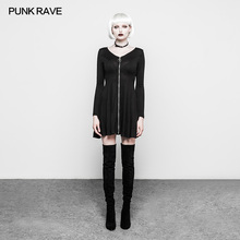 PUNK RAVE Fashion Women Mini Sexy Dresses Korean Style Gothic Black woolen Dress Long Sleeve V-neck Club Party
