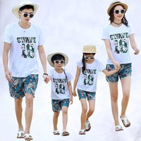 2019 Summer 2pcs/Sets top and pants family Set flower outfits clothing mom and son matching clothes Father Kids Clothes