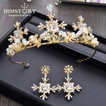 Himstory Luxury Sparkling Retro Bridal Crown Gold Crystal Peal Handmad Women Princess Wedding Hair Accessories Jewelry