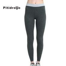 Pitidrogo Womens Full Length Cotton Yoga Leggings Spring Autumn skinny mid waist pants PD36785