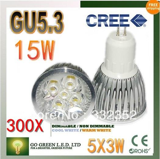 Free shipping 300XHigh-power CREE led bulb GU5.3 12W 15W AC85-265V Dimmable Warm/Pure/Cool white led Spotlight led lamp led