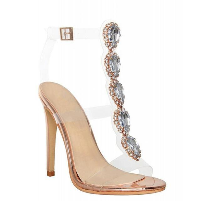 Amazing Lady Rhinestone Stiletto High Heels Sandals Crystal Sexy Clear  Transparent PVC Sandals Shoes Pumps Summer Dress Shoes f7bdea17e094
