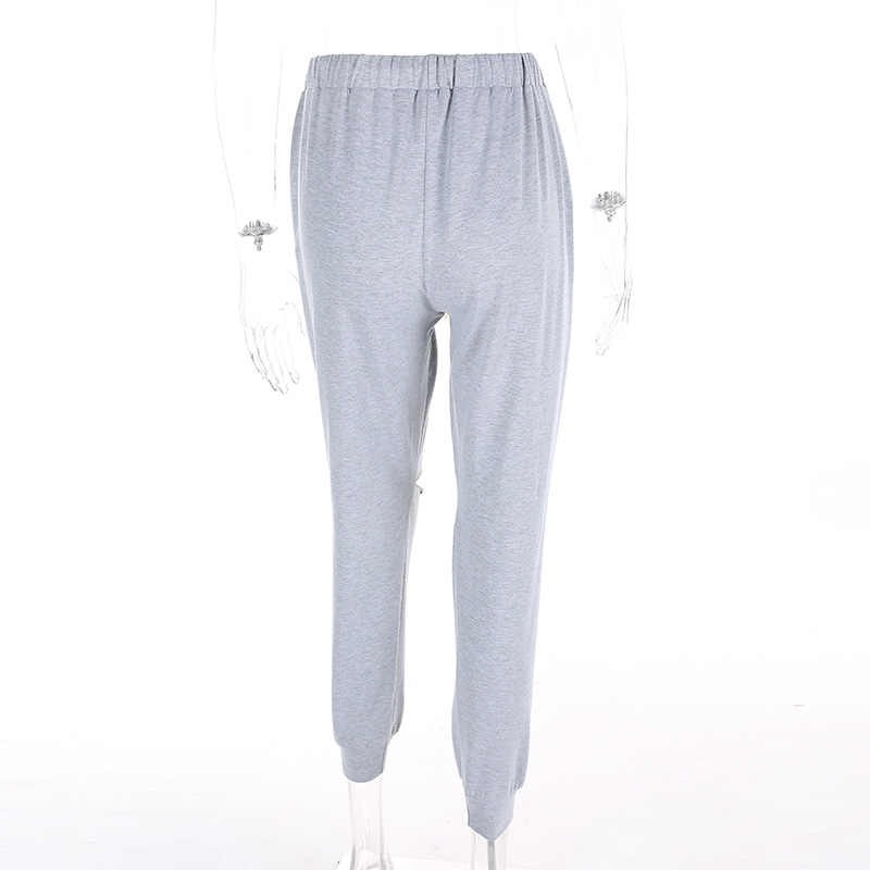 71ec4546ed802a ... Women Loose Baggy Trousers Fashion 2019 Spring Grey Solid Distress  Joggers Sweatpants Ripped Hiphop Dance Pants