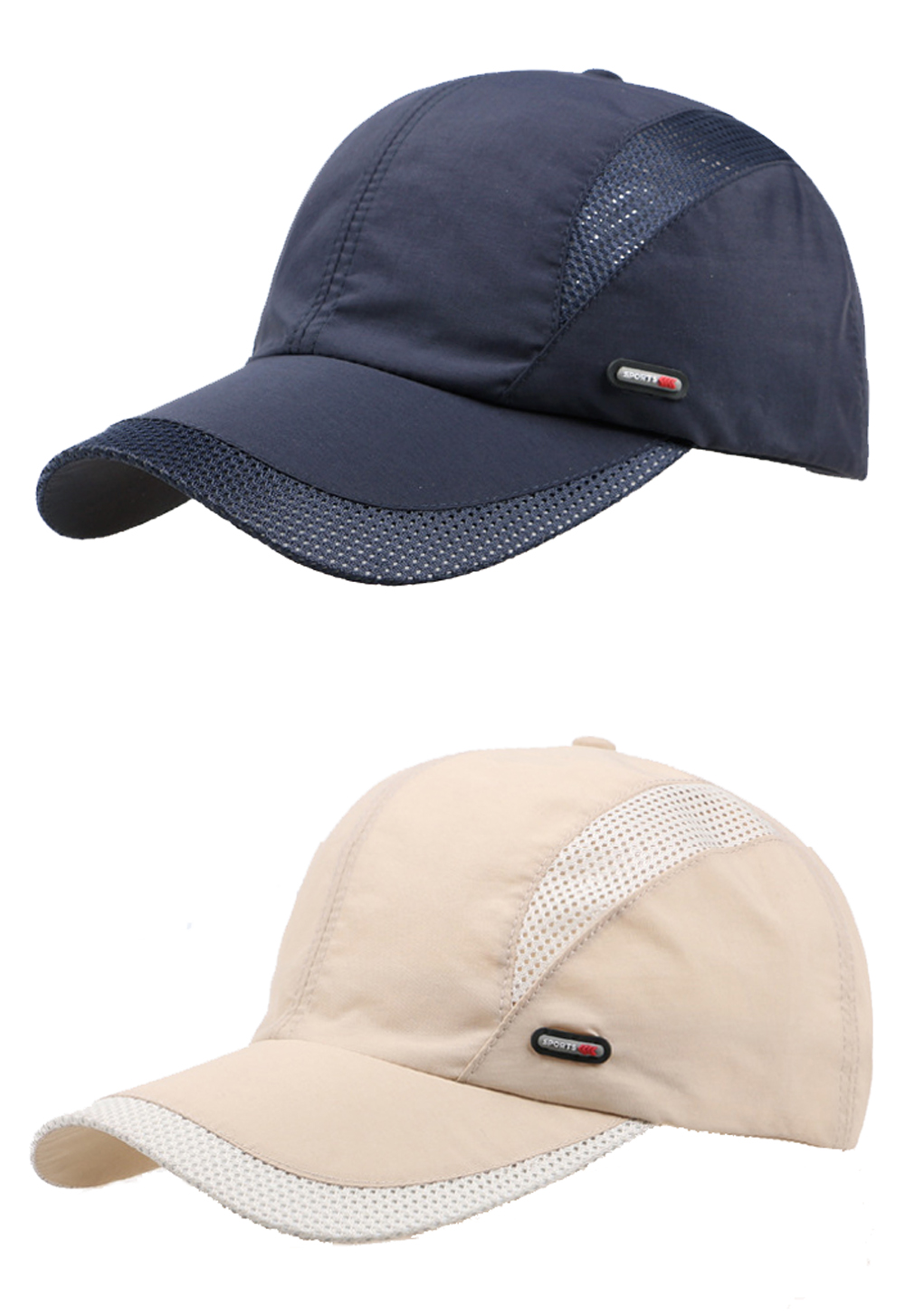 Cool Comfort Breathable Quick Dry Cap - Blue Cap and Beige Cap Front Angle Side Views