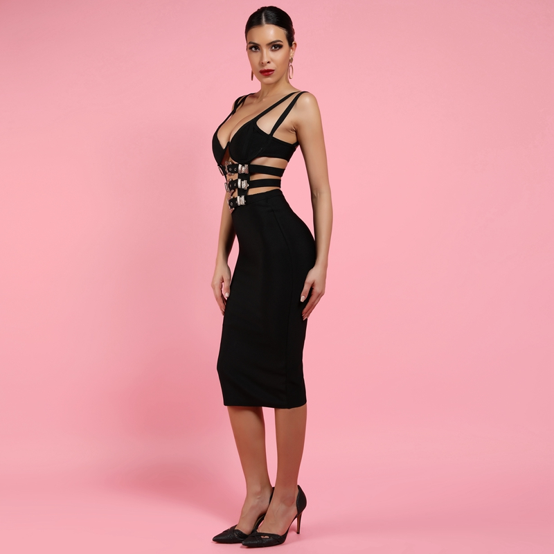 Black Burgundy V Neck Bodycon Bandage Dress