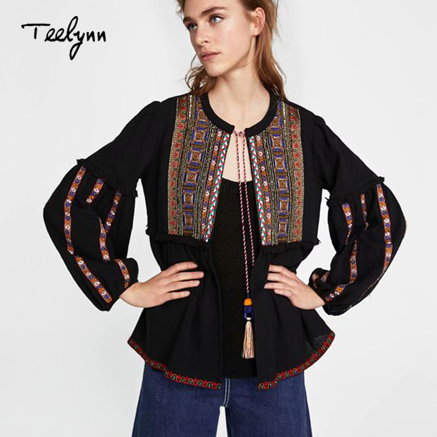 5d00aac7 ... 2018 autumn black Cotton ethnic geometric Embroidery loose puff long  sleeve coats chic Women Coat Outerwear. -30%. Click to enlarge