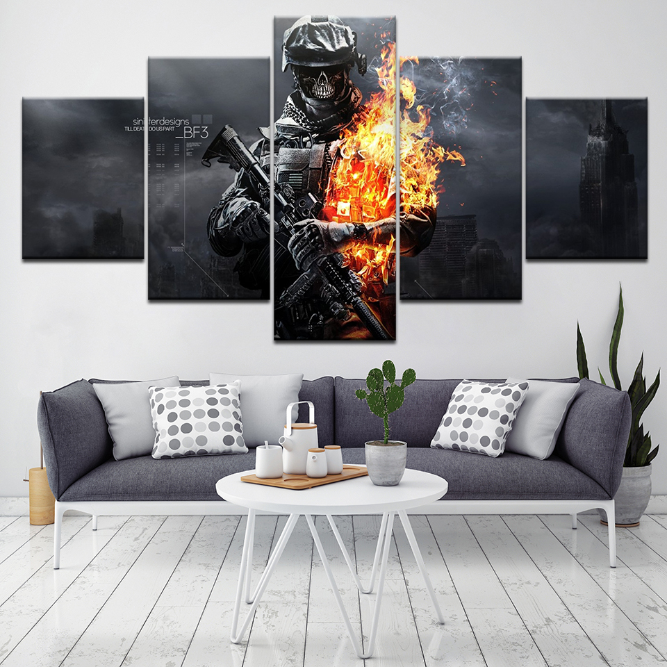 Battlefield 3 game poster 5 Piece HD Wallpapers Art Canvas Print modern Poster Modular art painting for Living Room Home Decor in Painting Calligraphy from Home Garden