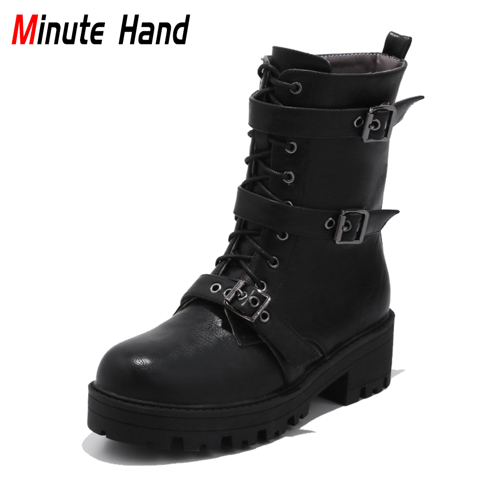 Minute Hand 2018 New Fashion Classics Women Ankle Boots Buckle Strap Lace Up Round Toe Square Heels Motorcycle Plus Size 32-47