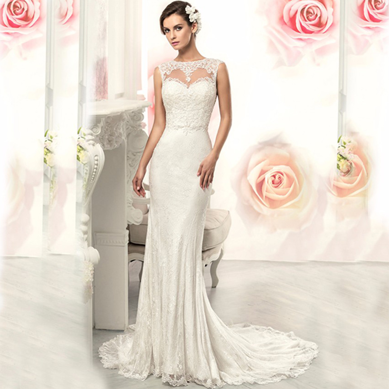 2017 hot sale elegant lace flowers sexy see through back for Mermaid wedding dresses on sale