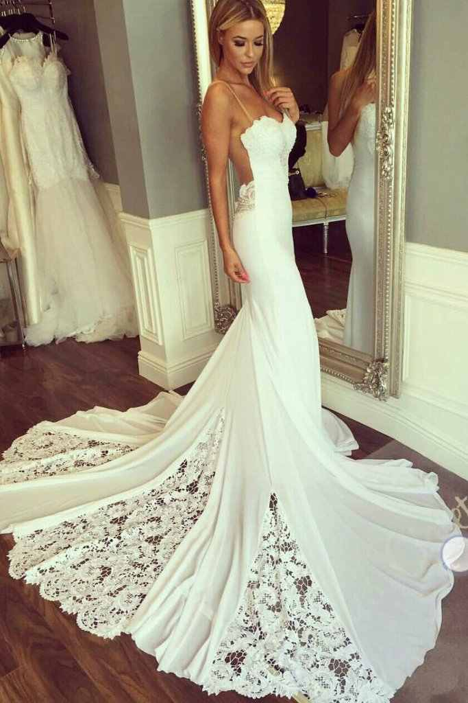 LORIE Mermaid Wedding Dress Sleeveless 2019 Vestidos de novia Vintage Lace Sexy White Bridal Gown Backless Wedding Gowns