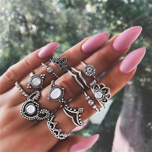 12 Pcs/set Bohemian Retro Crystal Flower Leaves Hollow Lotus Gem Silver Ring Set Women Wedding Anniversary Gift retro faux gem inlaid wedding anniversary jewelry