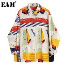 [EAM] 2019 New Autumn Winter Lapel Long Sleeve Print Pattern Retro Button Personality Shirt Women Blouse Fashion Tide JX981
