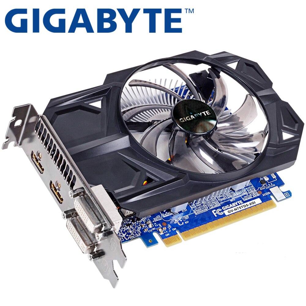GIGABYTE Graphics Card Original GTX 750 Ti 2GB 128Bit GDDR5 Video Cards Hdmi Dvi VGA Cards