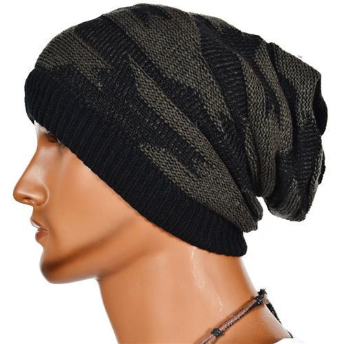 Men Soft Thick Knitted Slouchy Beanie Hat Baggy Two Double Design