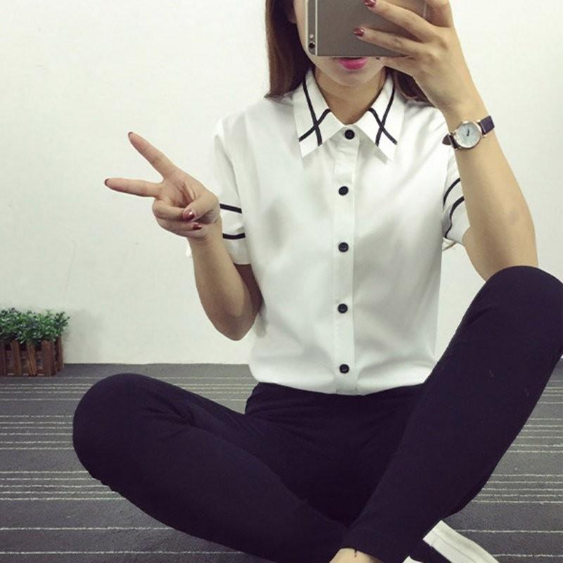 HTB1lndCNXXXXXcGXFXXq6xXFXXX8 - Fashion Ladies Office Shirt White Blue Tops Formal