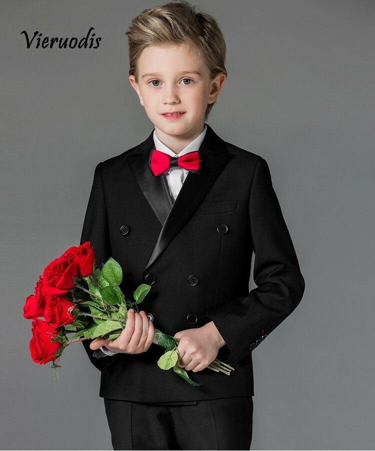 90-1         Flower Boys Black Wedding Suits For Children Formal Evening Prom Party Tuexdos