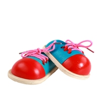 Childrens educational wooden wearing shoes toys kindergarten early education rope threading props laces puzzle toy