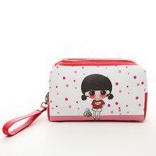 Mini Lady Cartoon Small Waterproof Travel Cosmetic Bag Korean Double Zipper Women Makeup Organizer Toiletry Bag Female Pouch