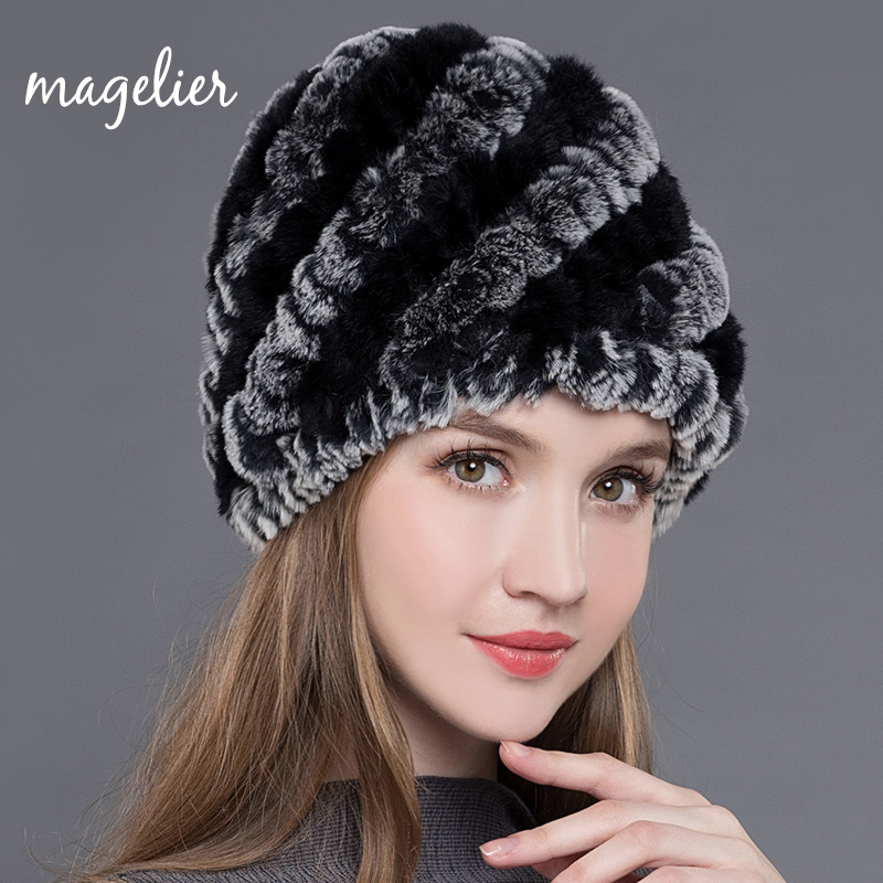 Magelier Women's Real Fur Hats Winter Warm Brown Knitted Natural Rex Rabbit Fur Beanies Fashion Brand Soft Cap New Arrival MZ002 warm brown