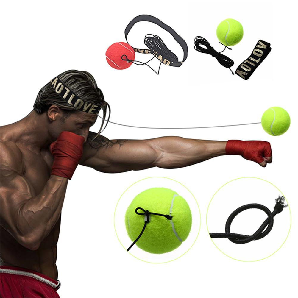 Yellow / Red Bouncy Ball Fight Ball Boxing Equipment With Head Band For Reflex Speed Training Boxing Punch Muay Thai Exercise