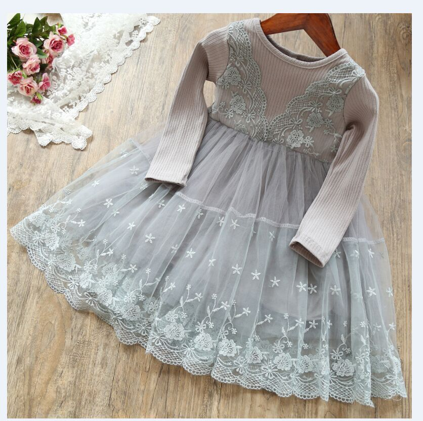 Princess Girls Dress 2 3 6 Year Children Long Sleeve Winter Autumn Baby Girl Party Dresses for kids Knit Clothes Christmas Dress 2017 spring girl lace princess dress 2 14y children clothes kids dresses for girls long sleeve baby girl party wedding dress