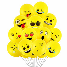 10pcs 12inch Emoji Balloons Smiley Face Expression Yellow Latex Balloons Wedding Party Cartoon Inflatable Balloons(China)
