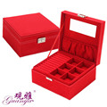 Guanya Jewelry Packaging & Display Box 2 layers Jewelry Box Storage Case Necklace Ring Jewellery Display Container Organizer