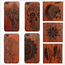 26 Стиль индийский воин Племенной Henna череп Мандала дерево Перо Деревянный корпус телефона для iPhone 6 6 S плюс 7 7 Plus 5 SE Обложка цветок