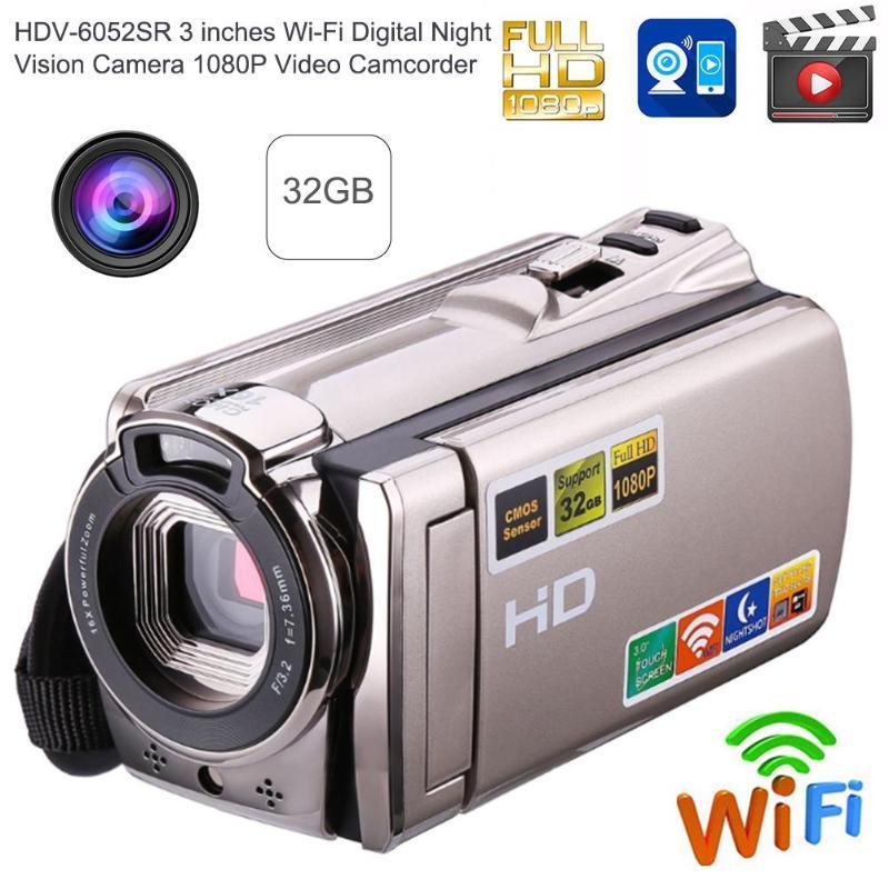 Détail 1080P Usb2.0 intelligent sans fil Wifi Dvr Hdv-6052Sr 3 pouces 16X Wi-Fi numérique Ir caméra de nuit Hd 1080P 8Mp caméscope vidéo - 5