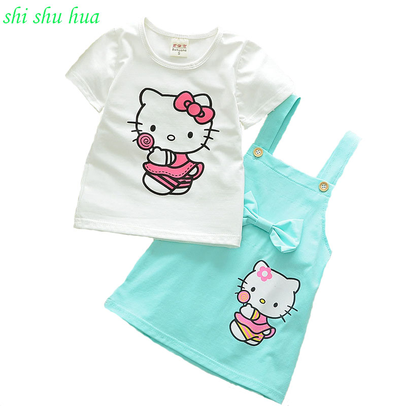 Kids's clothes set woman Summer season brief sleeve T-shirt + strap costume 2pcs cartoon printing Costume swimsuit 1-3years outdated woman cotton clothes set women, youngsters clothes set, set woman,Low...