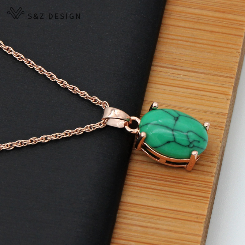 S&Z Fine Turquoises Oval Egg Shape 585 Rose Gold Earrings Jewelry Set For South Korean Women Temperament Wedding Fashion Jewelry