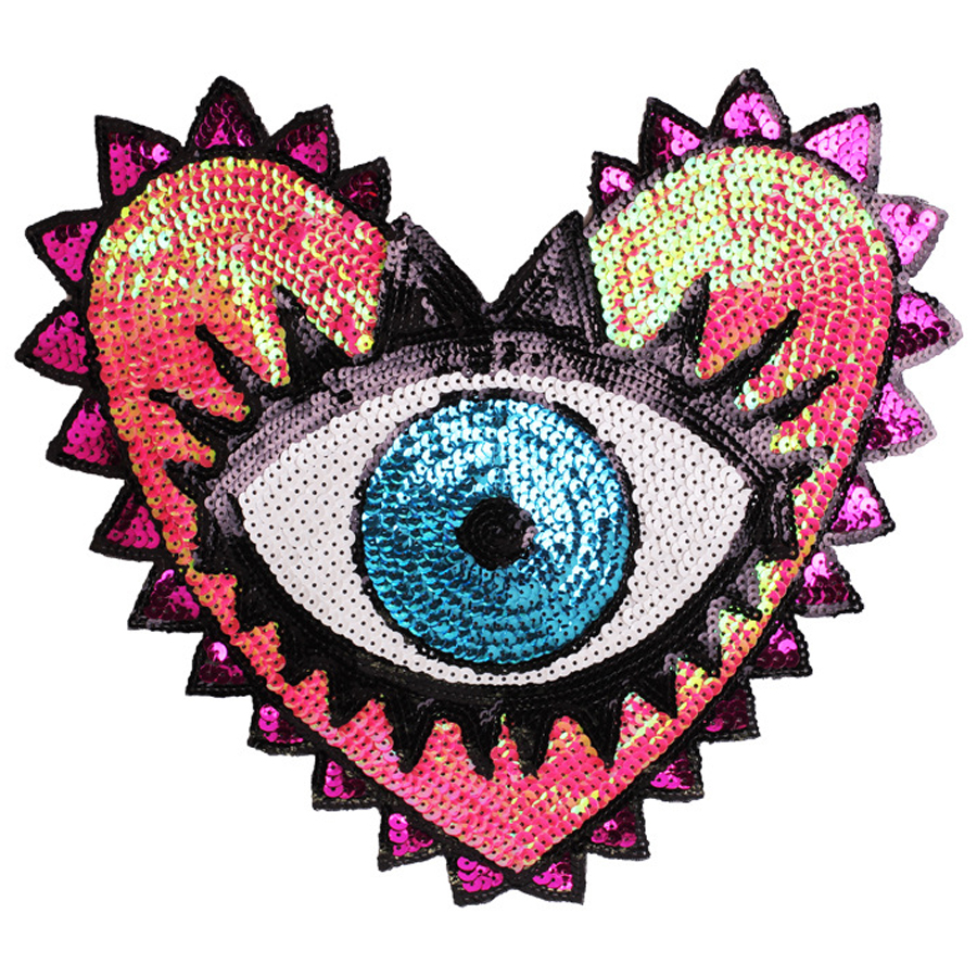 1 шт. блестки патч модное пальто патч в форме сердца глаза блестки вышивка аксессуары для одежды аппликация вышивка цветок нашивки